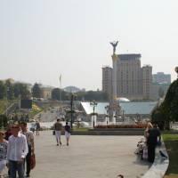 Kyjev -hlavní náměsté Majdan Nezal.