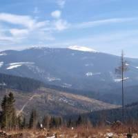 z hraničního hřebenu pohled na Babiu horu