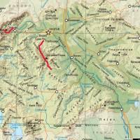 Mapa Makedonie. Červená je naše pěší cesty přes hory. Zdroj mapy: Wikipedie, svobodná licence
