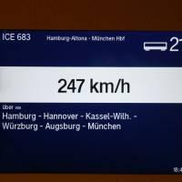 V ICE Hamburg - Mnichov, jedeme skoro 250 km/h