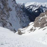 Dále dolů se jít nedá, marný pokus o přímý přechod na sousední pohoří Schneealpen