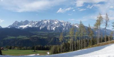 Panorama Dachsteinu z hory nad Schladmingem