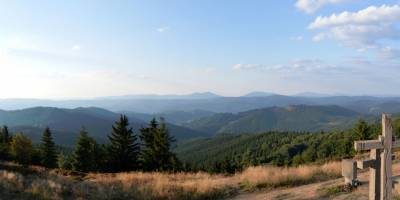 Hřeben Beskyd (Kněhyně, Smrk, Lysá hora) ze Ztracence