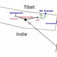 Plánek cesty v Nepálu. Autobusem z Káthmándú do Jiri a pak pěšky pod Mount Everest