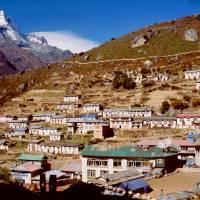 Namče Bazar (3440 m), jedno z center  Khumbu,
