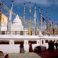 Káthmándú, Budhanath, obrovská buddhistická  stupa