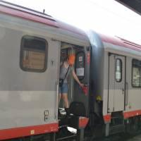 Livorno, výstupovat: konečná přímého vlaku Vídeň-Livorno (italský přístav)