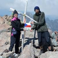 Na vrcholu Monte Cinto, 2706 m n.m., nejvyšší hoře Korsiky, náročný skoro pětihodinový výstup
