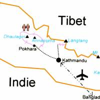 Plánek naší cesty. Z Káthmándú nejprve na západ a pěší trek kolem Annapuren a Dhaulágirí, návrat do Káthmándú a návštěva národní parku Langtang