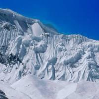 Ledovec v severní stěně Gangapurny