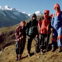 Aklimatizační výstup do 4500 metrů. Zleva Terka, Jirka, Maťa, Kleofáš