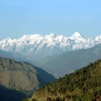 Langtangský Himaláj z autobusu