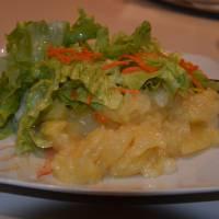 Rakouský bramborový salát v restauraci ve městě Leoben, odměna za úspěšný přechod hor