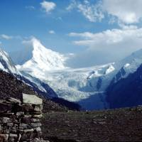 Hoper: ledovce Miar a asi hora Malubiting (7450 m)