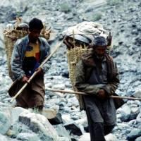 Údolí Burji Nala, domorodci s dřívím