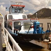 Opět na trajektu, tentokrát zpátky z Visegrádu do Nagymarose
