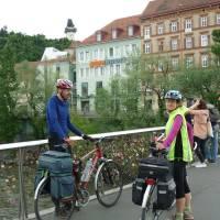 Graz, most se zámečky štěstí. Foto K.S.