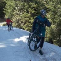 Cesta na Sticklerhütte, dále se už nedalo jen na kole, raději jsme po chvíli šli pěšky.