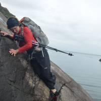 Skye, The Bad Step: nejhorší místo celého treku, skála přímo nad mořem