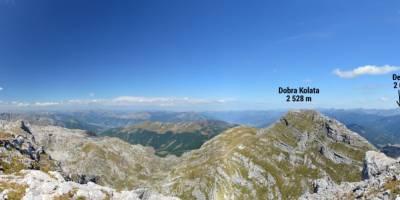 Na vrcholu hory Zla Kolata (2534 m), na nejvyšším bodu Černé hory; panoráma 360 stupňů