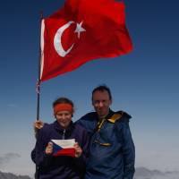 Kaçkar, Martina-Bára a Pavouk na vrcholu Kaçkar Dağ