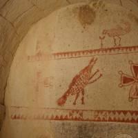 Kapadocie, Göreme, freska v jednom kláštěru ve skále