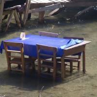 Kapadocie, Ihlarské údolí, restaurace přímo ve vodě