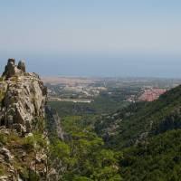 Olymp, pohled na městečko Litochoro a moře
