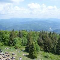 Z vrcholu Velká Čantoryje (995 m), vzadu hl. hřeben (polských) Slezských Beskyd