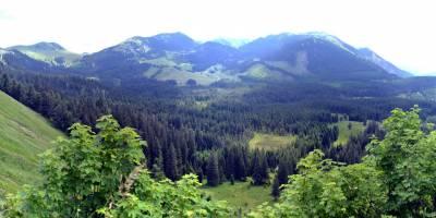 Obrovský krasový závrt na kraji masivu Schneealpe