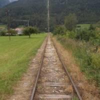 Bývalá tzv. mramorová železnice v Lassu - vodorovně a pak prudce do kopce