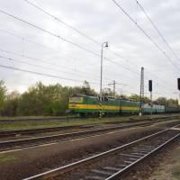 Slanec, nádraží, začátek putování na Slovensku.Širokorozchodný vlak asi z Ukrajiny či z Ruska