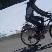 Blaaalm - nejvyšší bod naší cyklocesty: ve sněhu v 900 metrech